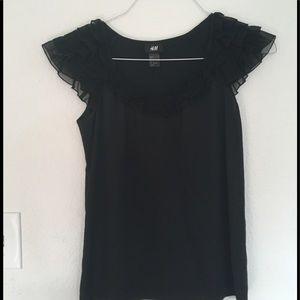 H&M Silky Black Ruffled Blouse